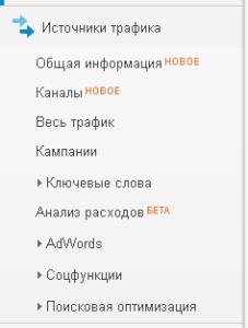 """Группа отчетов """"Источники трафика"""""""