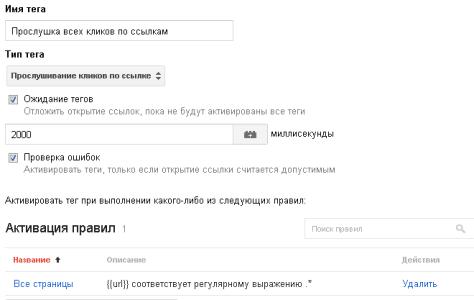 Тег прослушки кликов по ссылкам