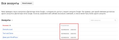 Список аккаунтов Google Tag Manager