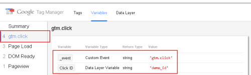 Информация в отладчике Google Tag Manager