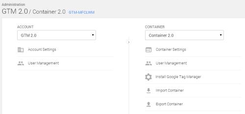 Интерфейс администратора новой версии Google Tag Manager
