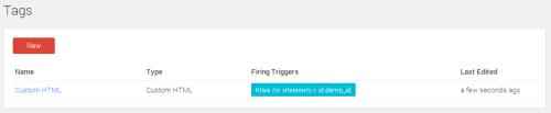 Список тегов в Google Tag Manager