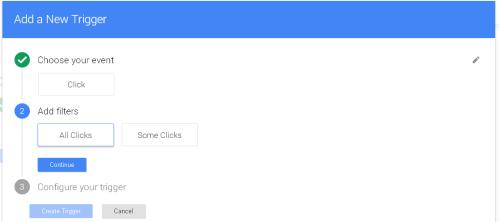 Второй этап создания триггера Google Tag Manager