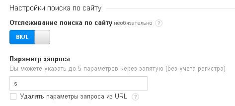 Активация отслеживания поиска по сайту