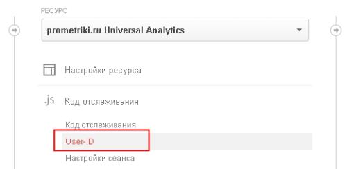 Опция User ID в панели управления