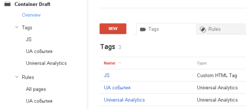 Пример минимизации настройки в Google Tag Manager