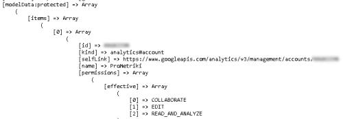 Результат выполнения запроса API Google Analytics