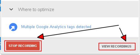 Google Tag Assistant окончание записи или просмотр результатов