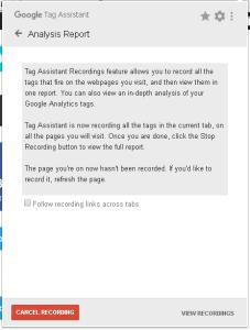 Google Tag Assistant предупреждение о записи