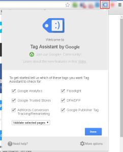 Google Tag Assistant в панели плагинов