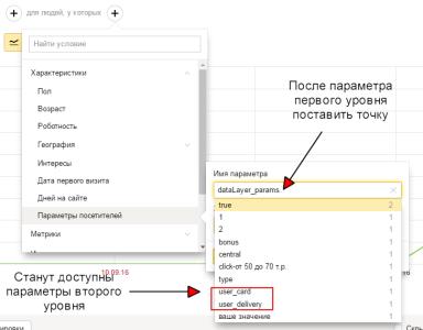 Доступ к параметрам пользователя второго уровня в Яндекс Метрике