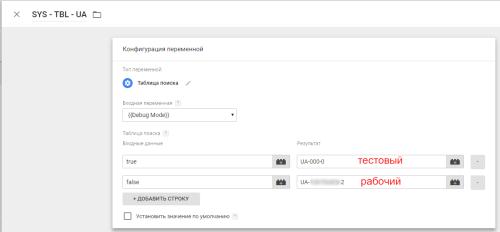 Конфигурация переменной с идентификатором счетчика Google Analytics