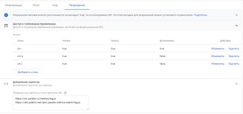 Настройки разрешений в шаблоне тега Google Tag Manager