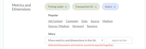 Ошибка в комбинации параметров и показателей