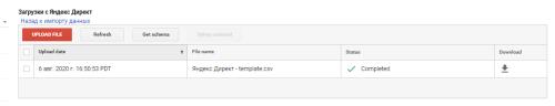 Загрузка данных о расходах в Google Analytics завершена
