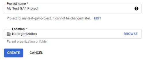 Новый проект в Google Cloud